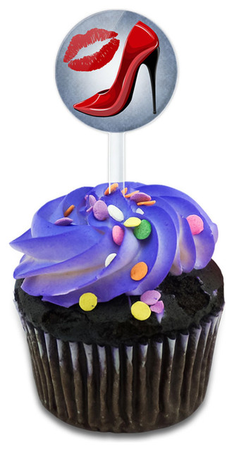 Red Stiletto And Lips Cupcake Toppers Picks Set.