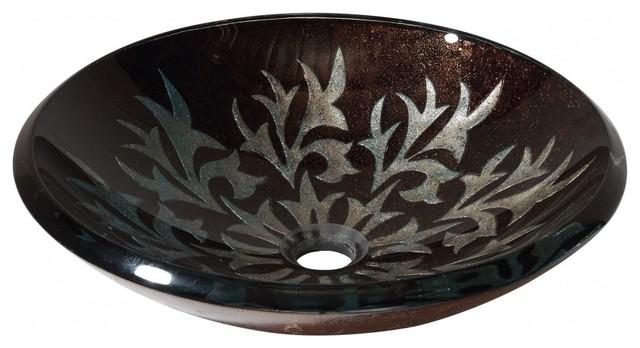 Delightful Sparkle Black/Silver Design Glass Vessel Sink Contemporary Bathroom Sinks