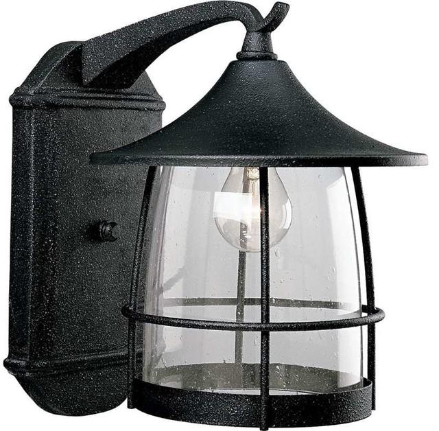 Prairie 1 Light Outdoor Wall Lantern Gilded Iron Clear Seeded Gl