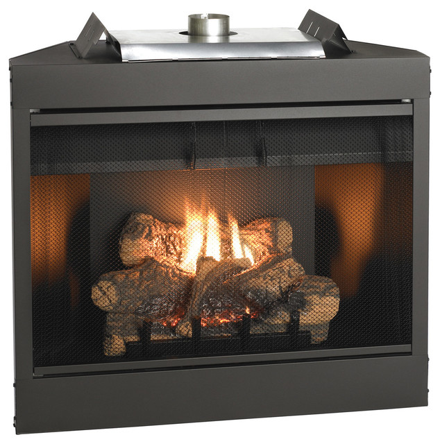 Deluxe 34 Keystone Series Mv Flush Face B-Vent Fireplace, Natural Gas.