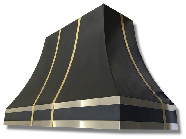 Torino Black Range Hood With Brass and Stainless, 36\