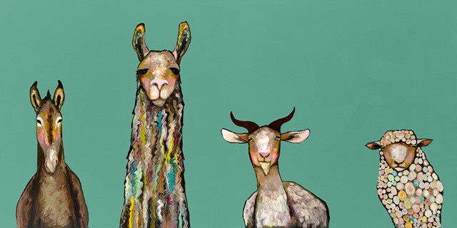 """donkey, Llama, Goat, Sheep On Teal"" Canvas Wall Art By Eli Halpin, 72""x36""."