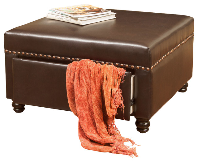 Cressida Square Storage Ottoman Brown Leather  sc 1 st  Houzz & Cressida Square Storage Ottoman - Contemporary - Footstools And ...