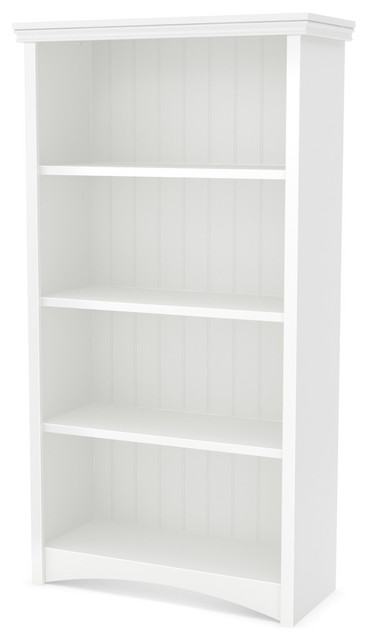 South Shore Gascony 4-Shelf Bookcase, Pure White.
