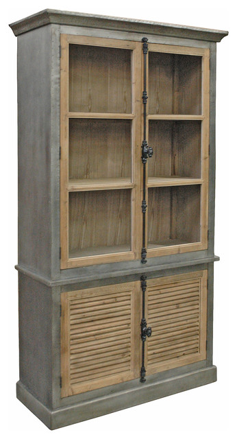 Klein Industrial Loft Natural Pine Zinc Wrapped Closed Bookcase Cabinet.