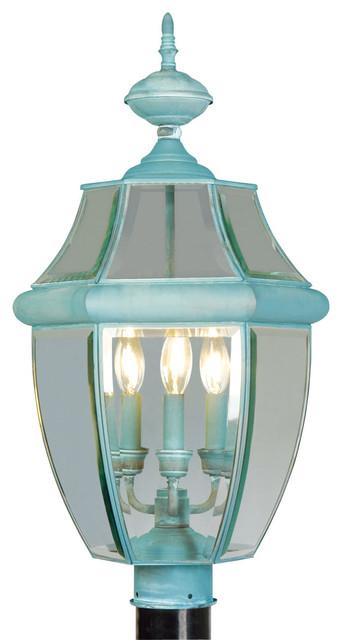 Livex Lighting 3-Light Verdigris Outdoor Post Lantern.