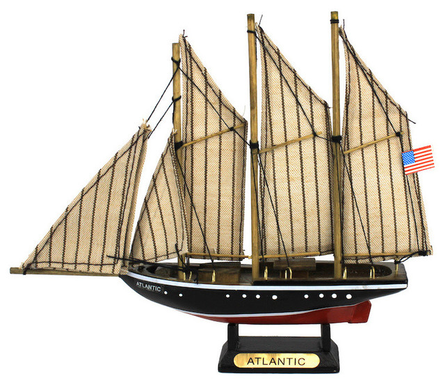 """Wooden Atlantic Model Sailboat Decoration, 7"""" decorative-objects-and-figurines"""