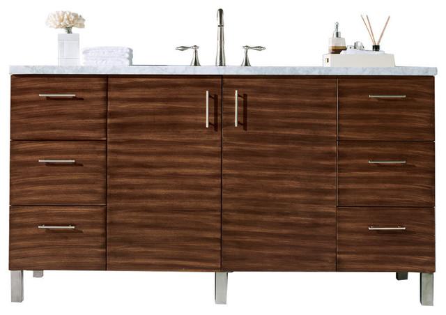 "Thiago Single-Sink Vanity, 3-Centimeter Snow White Quartz Top, 60""."
