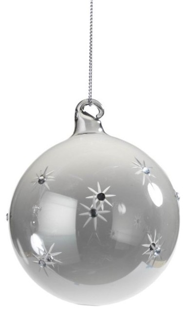 Small Holiday Ball Christmas Ornament Smoke Set Of 6
