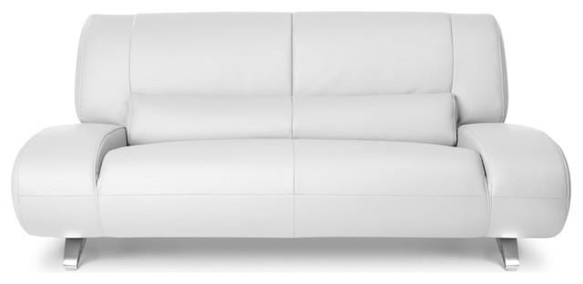 Aspen Microfiber Leather Loveseat, White.