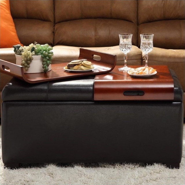 Convenience Concepts Designs4comfort Coffee Table Ottoman In Black Faux Leather Contemporary Footstools And Ottomans By Convenience Concepts