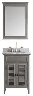 Piedmont 24 Single Vanity Antique White White Marble Top Mirror