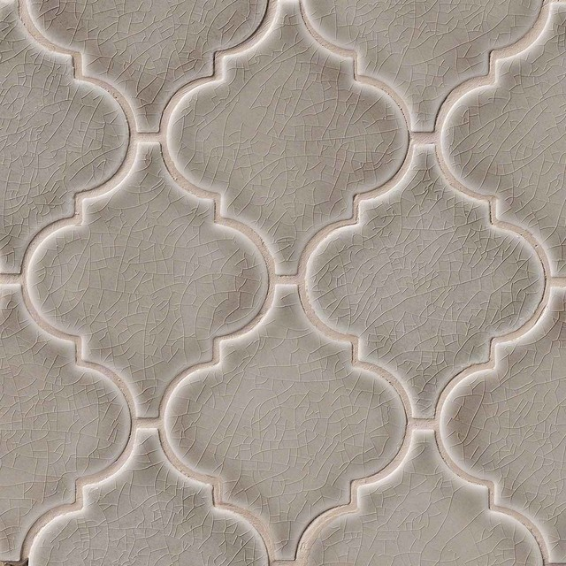 Dove Gray Arabesque Mosaic Tiles Backsplash Polished