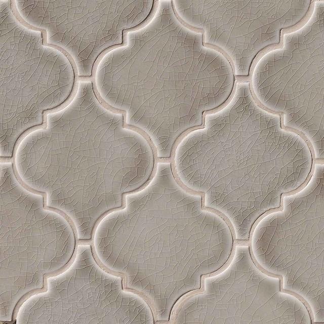 dove gray arabesque mosaic tiles backsplash polished finish by highland park - Arabesque Tile Backsplash