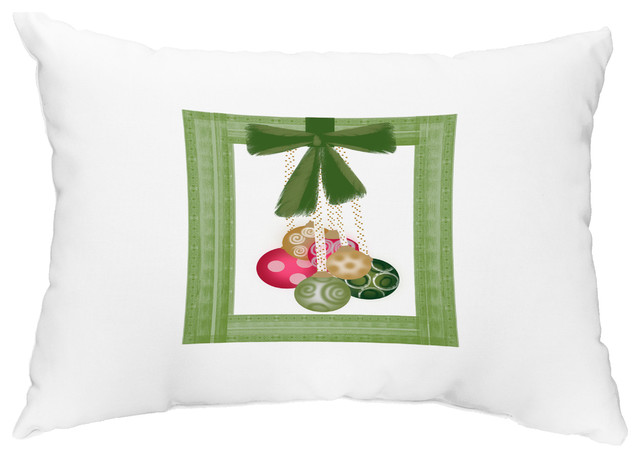 "Frame It Up 14""x20"" Decorative Christmas Outdoor Pillow - Contemporary - Outdoor Cushions And Pillows - by E by Design"