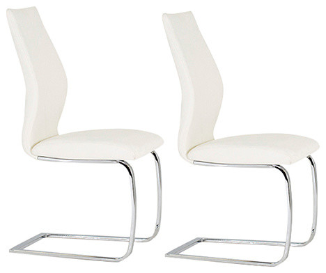 Elis Dining Chair Set Of 2 White Modern Chairs