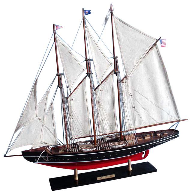 Wooden Atlantic Limited Model Sailboat Decoration Beach