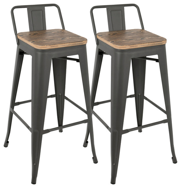 LumiSource Oregon Low Back Bar Stool, Gray and Brown
