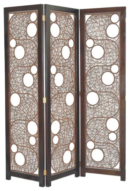 Cascade Contemporary Woven Rattan 3 Panel Folding Screen Contemporary Scr