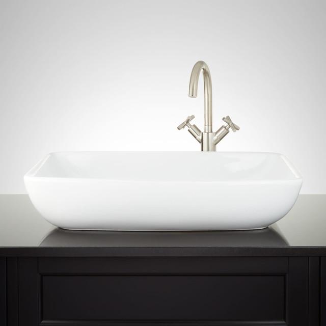 "Signature Hardware 941474 Galindo 24"" Porcelain Vessel Bathroom Sink"