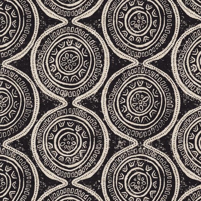 Rod Pocket Curtain Panels Pair Atlas Granite Geometric Black Cotton.