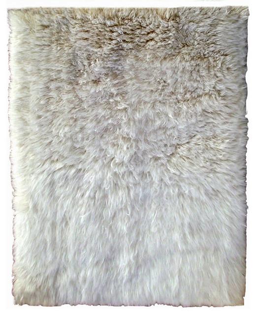 "Ultra-Plush 2'x3' Natural Flokati Shag Rug 4"" Pile Organic"