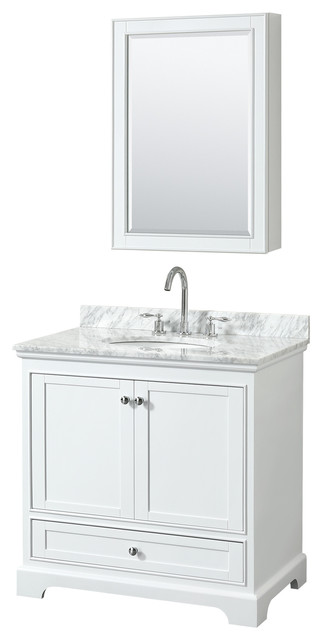 "Deborah 36"" Single Vanity, Med Cabinet, White, Carrara Top, Round Sink"