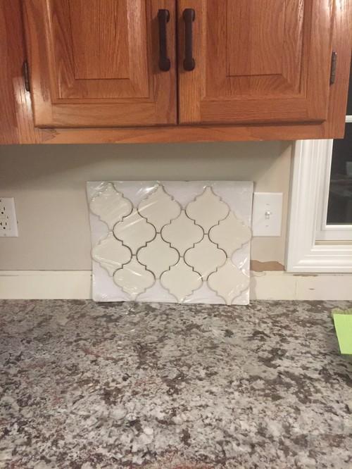 Backsplash to match Bianco Antico and Honey cabinets