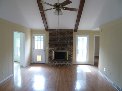 Ideas For Vaulted Ceiling With Beams Fireplace And Built ins In Family Room