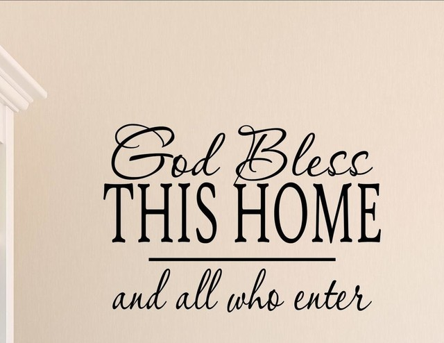 Popular God Bless This Home And All Who Enter, Wall Decor Stickers  GM87