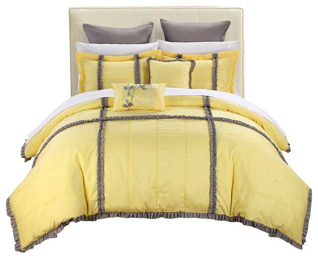 Yellow Gray Bed In A Bag : Legend yellow gray king piece quilted comforter bed in
