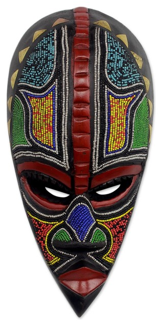Proud Hausa Warrior African Beaded Wood Mask Tropical Wall Accents By Novica Houzz