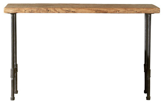 "Industry Reclaimed Wood Console Table, Natural, Thick, 60""."