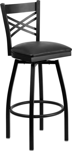 Hercules Series &x27;&x27;x&x27;&x27; Back Swivel Metal Bar Stool, Vinyl Seat, Black.
