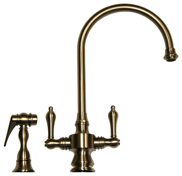 p vintage collection polished faucet faucets bridge whitehaus with poch chrome in handle kitchen sprayer standard side iii