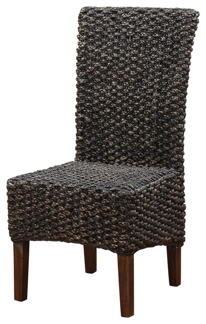 Meadow Wicker Dining Chair In Brick Brown Set Of 2 Tropical