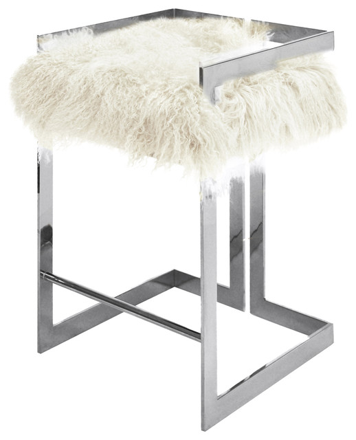 Terrific Quentin Hollywood Regency White Mongolian Fur Silver Counter Stool Pabps2019 Chair Design Images Pabps2019Com