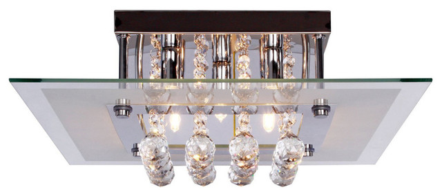 Contemporary Crystal Drop Flush Mount Light, 5 Light, Ceiling Light, Fixture.