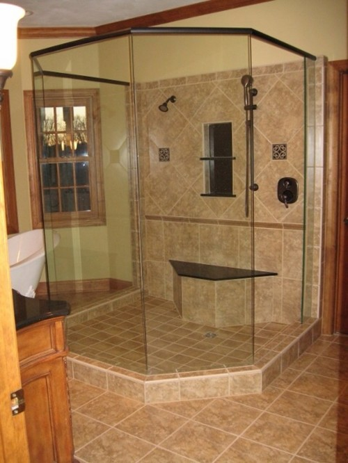 Doorless showers are taking showers cold for Show me remodeled bathrooms