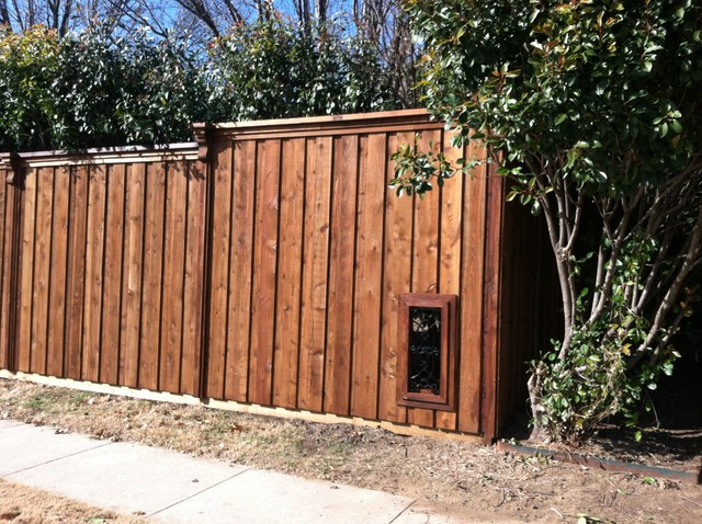 Vertical Doggie Window Cedar Fence Dallas By Texas