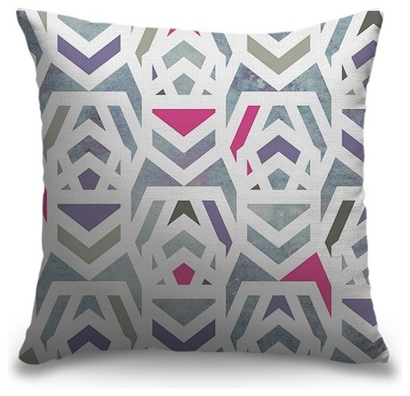 Geometric Shapes Blue Outdoor Pillow 16 X16