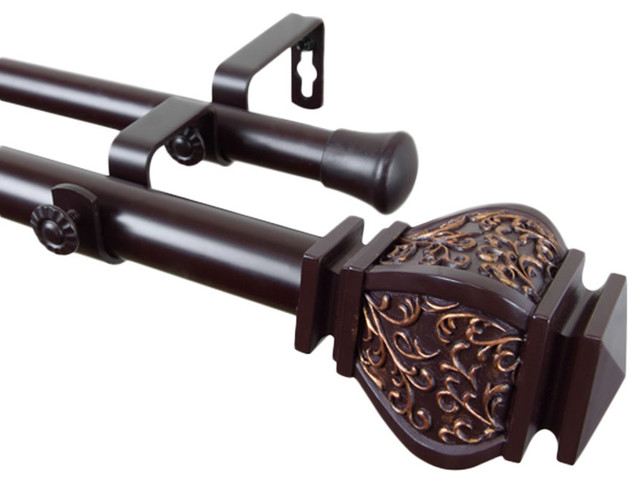 Rod Desyne Home Decorative Margot Double Curtain Rod, 66-120, Mahogany.