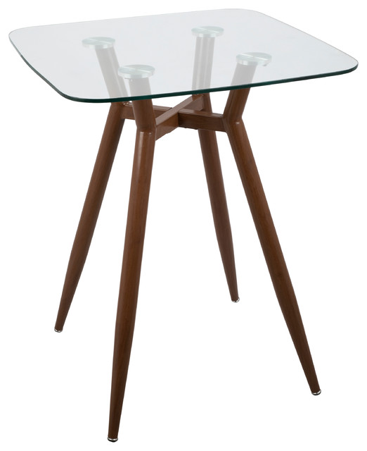 Clara Mid-Century Modern Counter Table, Walnut Metal And Clear Glass.