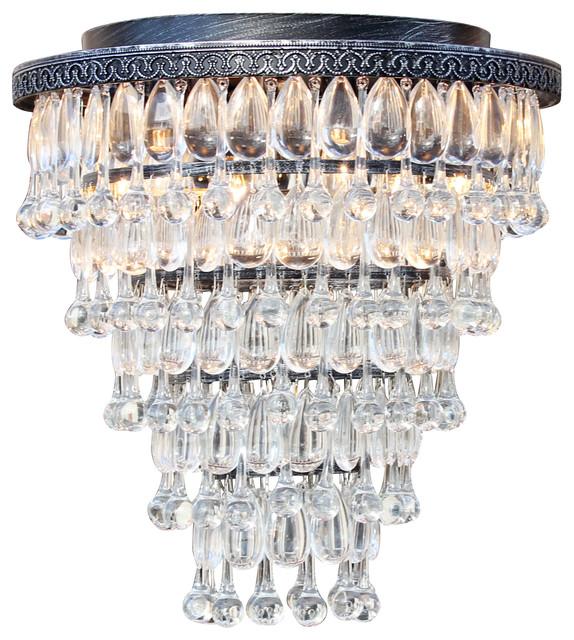 Weston 7 light flush mount glass drop chandelier antique silver weston 7 light flush mount glass drop chandelier antique silver aloadofball Choice Image