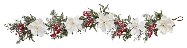Nearly Natural Home Indoor 60 Frosted Magnolia And Berry Artificial Garland.