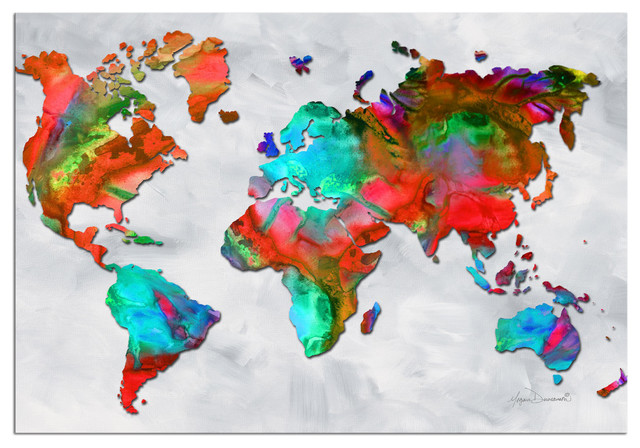 The Beauty of Color v2 5 Rainbow Colored Abstract World Map Art Metal Gicle