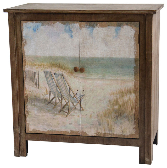 Genial Gulf Breeze Rustic Wood Painted Canvas Beach Scene 2 Door Cabinet