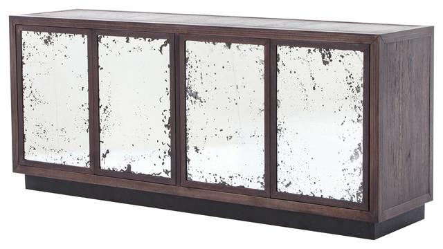 Keith Industrial Loft Antique Mirror 4 Door Iron Oak Media Console