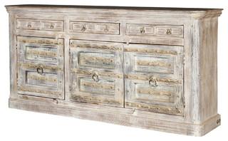 "Palazzo 82"" Light Brown Rustic Solid Wood 3-Door Buffet Sideboard"