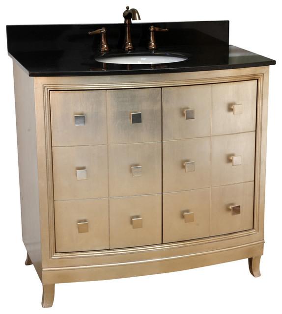Bellaterra Home 36 Inch Single Sink Vanity Wood Bronze Silver Bathroom Vanities And Sink